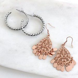 Chain Hoop Earrings and Rose Gold Teadrop